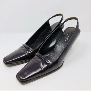 Authentic GUCCI eggplant colored slingback, Italy